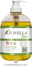 Olivella Kosher Face & Body Liquid Soap Classic 16.9 OZ
