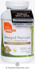 Zahlers Kosher Advanced Omega-3 Platinum Fish Oil High EPA/DHA (Premium Grade)  BUY 1 GET 1 FREE  360 Softgels