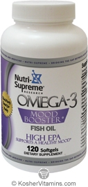 Nutri-Supreme Research Kosher Omega-3 Mood Booster Fish Oil EPA/DHA  BUY 1 GET 1 FREE  120 Softgels