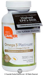 Zahlers Kosher Advanced Omega-3 Platinum Fish Oil High EPA/DHA (Premium Grade) 90 Softgels