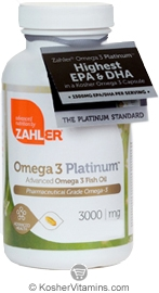 Zahlers Kosher Advanced Omega-3 Platinum Fish Oil High EPA/DHA (Premium Grade)  BUY 1 GET 1 FREE  60 Softgels