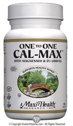 Maxi Health Kosher One to One (1:1) Cal-Max Calcium with Magnesium & D3 120 Tablets