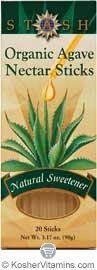 Stash Kosher Organic Agave Nectar Sticks 20 Sticks