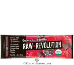 Raw Revolution Kosher Organic Live Food Bar Chocolate Raspberry Truffle Parve 12 Bars
