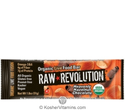 Raw Revolution Kosher Organic Live Food Bar Heavenly Hazelnut Chocolate Parve 12 Bars