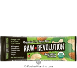 Raw Revolution Kosher Organic Live Food Bar Spirulina Dream Parve 12 Bars