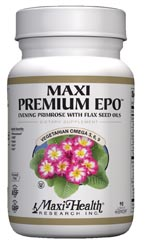 Maxi Health Kosher Maxi Premium EPO - Evening Primrose with Flax Seed Oil (Omega-3, 6 & 9) 90 Vegicaps