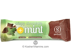 Genisoy Kosher Protein Bar Crispy Chocolate Mint Dairy 12 Bars