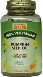 Health From The Sun Pumpkin Seed Oil 1000 mg. Vegetarian Suitable not Certified Kosher  90 Vegetarian Softgels