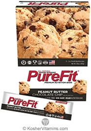 PureFit Kosher Nutrition Bar Peanut Butter Chocolate Chip Parve 15 Bars