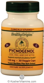 Healthy Origins Pycnogenol 150 Mg Vegetarian Suitable Not Certified Kosher 30 Vegetarian Capsules