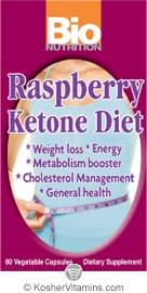 Bio Nutrition Raspberry Ketone Diet Vegetarian Suitable Not Certified Kosher 60 Vegetarian Capsules