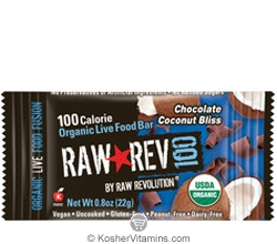 Raw Revolution Kosher 100 Calorie Organic Live Food Bar Chocolate Coconut Bliss Parve 20 Bars