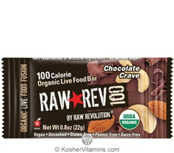 Raw Revolution Kosher 100 Calorie Organic Live Food Bar Chocolate Crave Parve 20 Bars