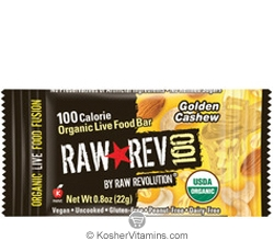 Raw Revolution Kosher 100 Calorie Organic Live Food Bar Golden Cashew Parve 20 Bars