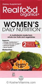 Country Life RealFood organics Women's Daily Nutrition Vegetarian Suitable Not Certified Kosher 120 Tablets