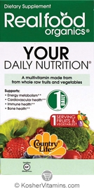 Country Life RealFood Organics Your Daily Nutrition Vegetarian Suitable Not Certified Kosher 60 Tablets