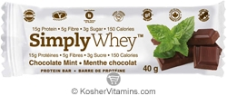 SimplyChoices Kosher Simply Whey Protein Bar Chocolate Mint Dairy 12 Bars