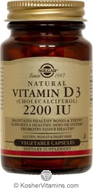 Solgar Kosher Vitamin D3 2200 IU 100 Vegetable Capsules