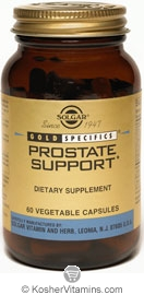 Solgar Prostate Support Vegetarian Suitable Not Certified Kosher 60 Vegetable Capsules