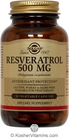 Solgar Resveratrol 500 mg Vegetarian Suitable Not Certified Kosher 30 Vegetable Capsules