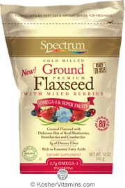 Spectrum Kosher Cold Milled Ground Premium Flaxseed with Mixed Berries 12 OZ