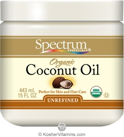 Spectrum Kosher Organic Coconut Oil Unrefined for Skin and Hair Care 15 OZ
