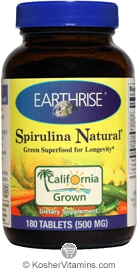 Earthrise Kosher Spirulina Natural 500 Mg 180 Tablets