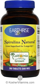 Earthrise Kosher Spirulina Natural 500 Mg 360 Tablets