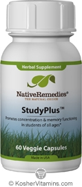 Native Remedies Kosher StudyPlus with Gotu Kola 60 Vegetable Capsules