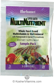 Bluebonnet Kosher Super Earth MultiNutrient Whole Food Based Multivitamin & Multimineral Iron Free - Free with a $49 Purchase 1 Pack