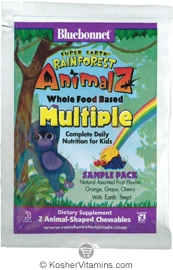 Bluebonnet Kosher Super Earth Rainforest Animalz Whole Food Based Multiple Chewble Assorted Fruit Flavors - Free with a $49 Purchase 1 Pack