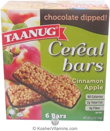 Taanug Kosher Cereal Bars Chocolate Dipped Cinnamon Apple 6 Bars
