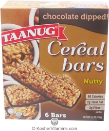 Taanug Kosher Cereal Bars Chocolate Dipped Nutty 6 Bars