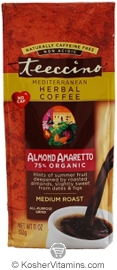 Teeccino Kosher Herbal Coffee Alternative Medium Roast Almond Amaretto 11 OZ
