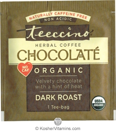 Teeccino Kosher Organic Herbal Coffee Alternative Dark Roast Chocolate - Free with a $49 Purchase 1 Tee-bag