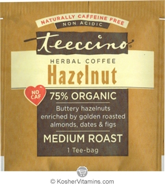 Teeccino Kosher Herbal Coffee Alternative Medium Roast Hazelnut - Free with a $49 Purchase 1 Tee-bag