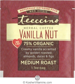 Teeccino Kosher Herbal Coffee Alternative Medium Roast Vanilla Nut - Free with a $49 Purchase 1 Tee-bag