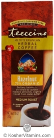 Teeccino Kosher Herbal Coffee Alternative Medium Roast Hazelnut 11 OZ