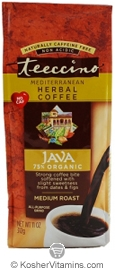 Teeccino Kosher Herbal Coffee Alternative Medium Roast Java 11 OZ