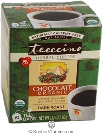 Teeccino Kosher Organic Herbal Coffee Alternative Dark Roast Chocolate 10 Tee-bags