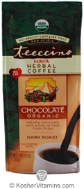 Teeccino Kosher Organic Herbal Coffee Alternative Dark Roast Chocolate 11 OZ