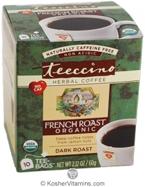Teeccino Kosher Organic Herbal Coffee Alternative Dark Roast French Roast 10 Tee-bags