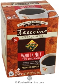 Teeccino Kosher Herbal Coffee Alternative Medium Roast Vanilla Nut 10 Tee-bags