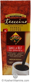 Teeccino Kosher Herbal Coffee Alternative Medium Roast Vanilla Nut 11 OZ