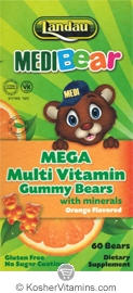 Landau Kosher MediBear Mega Multi Vitamin with Minerals Chewable Jellies Orange Flavor 60 Bears