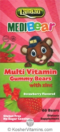 Landau Kosher MediBear Multi Vitamin with Zinc Chewable Jellies Strawberry Flavor 60 Bears