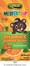 Landau Kosher MediBear Vitamin C Chewable Jellies Orange Flavor 60 Bears