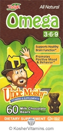 Uncle Moishy Kosher Omega 3,6,9 Chewable Milk Chocolate Flavor Dairy Cholov Yisroel 60 Bears