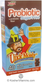 Uncle Moishy Kosher Probiotic 1 Billion + Prebiotic Fiber Chewable Milk Chocolate Sugar Free Dairy Cholov Yisroel 40 Bears
